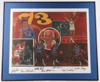 1973 New York Knickerbockers 28x33 Custom Framed Lithograph Signed By (7) With Walt Frazier, Jerry Lucas, Dave DeBusschere (LOA) at PristineAuction.com