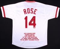 "Pete Rose Signed Reds Career Highlight Stat Jersey Inscribed ""Hit King"" (JSA COA) at PristineAuction.com"