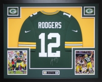 "Aaron Rodgers Signed Packers 35"" x 43"" Custom Framed Jersey (PSA COA) at PristineAuction.com"