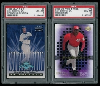 Lot of (2) Ken Griffey Jr. Baseball Cards with 2000 Upper Deck Pros and Prospects ProMotion #P9 (PSA 10) & 1998 Leaf Rookies and Stars Standing Ovations #3 (PSA 8) at PristineAuction.com
