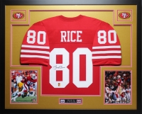"""Jerry Rice Signed 49ers 35"""" x 43"""" Custom Framed Jersey (GTSM COA) at PristineAuction.com"""