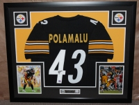 "Troy Polamalu Signed Steelers 35"" x 43"" Custom Framed Jersey (Mounted Memories COA) at PristineAuction.com"