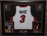 "Dwyane Wade Signed Heat 35"" x 43"" Custom Framed Jersey (PSA COA) at PristineAuction.com"