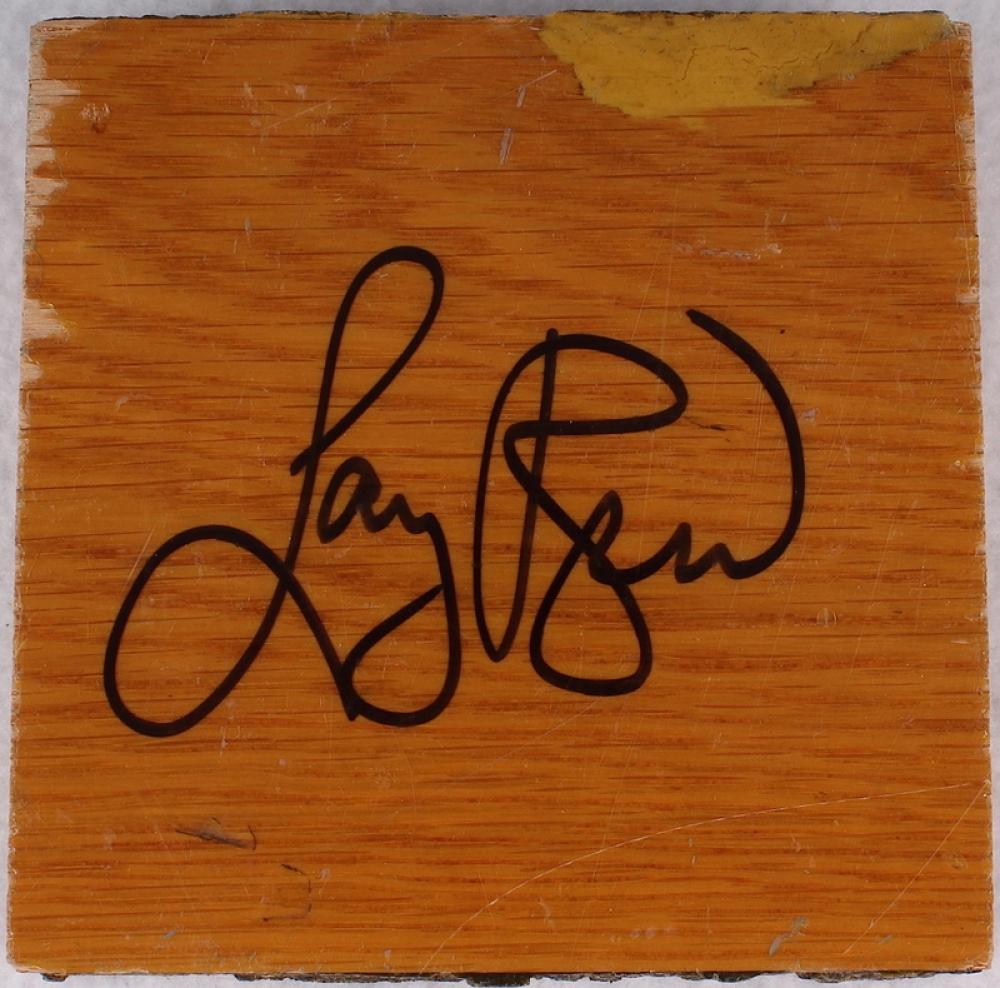 Larry bird signed boston garden game used 4x4 parquet floor piece schwartz c - Parquet piece humide ...