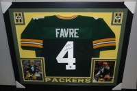 "Brett Favre Signed Packers 35x43 Custom Framed Jersey Inscribed ""SB XXXI Champs!"" (Favre COA) at PristineAuction.com"