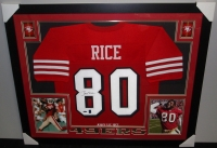 Jerry Rice Signed 49ers 35x43 Custom Framed Jersey (TriStar & GTSM) at PristineAuction.com
