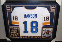 "Hanson Brothers Signed ""Slap Shot"" Chiefs 35x43 Custom Framed Jersey Signed by (3) with Dave Hanson, Steve Carlson & Jeff Carlson (JSA COA) at PristineAuction.com"