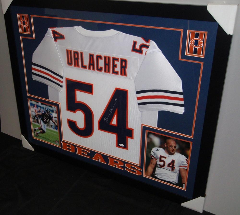 Brian Urlacher Signed Bears 35x43 Custom Framed Jersey