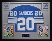 "Barry Sanders Signed Lions 35"" x 43"" Custom Framed Jersey (Steiner COA) at PristineAuction.com"