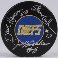 Dave Hanson, Steve Carlson & Jeff Carlson Signed Chiefs Logo Hockey Puck (SI COA) at PristineAuction.com