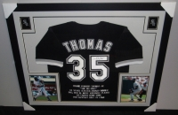 "Frank Thomas Signed White Sox 43"" x 35"" Custom Framed Career Highlight Stat Jersey (JSA COA) at PristineAuction.com"