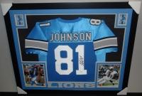 Calvin Johnson Signed Lions 35x43 Custom Framed Jersey (JSA COA) at PristineAuction.com
