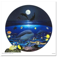 """Wyland Signed """"Moonlight Celebration"""" Limited Edition 20x20 Giclee on Canvas at PristineAuction.com"""
