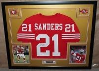 "Deion Sanders Signed 49ers 35"" x 43"" Custom Framed Jersey (JSA COA) at PristineAuction.com"