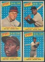 Lot of (4) 1958 Topps Baseball Cards Including Willie Mays, Stan Musial, Ernie Banks, Hank Aaron at PristineAuction.com