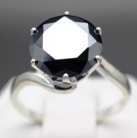 3.51 Carat Genuine Natural Black Diamond Sterling Silver Ring - Size 7 (GJLI COA) at PristineAuction.com