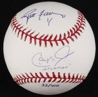 """Brett Favre & Cal Ripken Jr. Signed OML Baseball Inscribed """"Ironman"""" (Ripken Jr. Hologram, MLB Hologram, Favre COA & Steiner COA) at PristineAuction.com"""