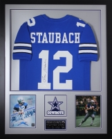 Roger Staubach Signed Cowboys 35x43 Custom Framed Jersey (JSA COA) at PristineAuction.com