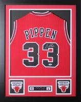Scottie Pippen Signed Bulls 24x30 Custom Framed Jersey (PSA COA) at PristineAuction.com