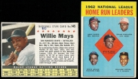 Lot of (2) Willie Mays Baseball Cards Including 1961 Post Cereal Baseball Star #145 & 1963 Topps #3 NL Home Run Leaders / Willie Mays / Hank Aaron / Frank Robinson / Orlando Cepeda / Ernie Banks at PristineAuction.com
