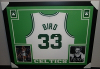 Larry Bird Signed Celtics 35x43 Custom Framed Jersey (Bird Hologram & JSA COA) at PristineAuction.com