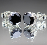 3.28 Total Carat Genuine Natural Black Diamond Stud & Sterling Silver Earrings (GJLI COA) at PristineAuction.com