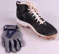 Lot of (2) Derek Jeter 2014 Final Season Game-Used Items with Baseball Glove & Nike Air Jordan Cleat (Steiner COA) at PristineAuction.com