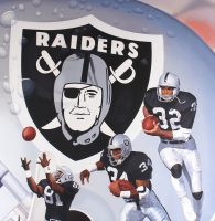 "Danny Day Signed Raiders ""Silver and Black Heisman Attack"" 42x54 Custom Framed Original 1991 Oil Painting on Canvas with Bo Jackson, Marcus Allen & Tim Brown (PA LOA)"