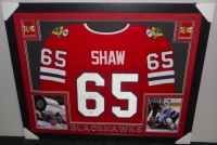Andrew Shaw Signed Blackhawks 35x43 Custom Framed Jersey (PSA COA) at PristineAuction.com