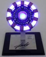 """Stan Lee Signed """"Iron Man"""" Light Up Arc Reactor Movie Replica Prop with Display Case (Radtke COA & Stan Lee Hologram) at PristineAuction.com"""