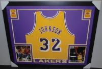 Magic Johnson Signed Lakers 35x43 Custom Framed Jersey (JSA COA) at PristineAuction.com