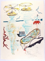 "Salvador Dali Signed ""Liquid Tornado Bathtub"" 1975 22x30 Original Surrealist Deluxe LE Mixed Media on Japon Archival Paper #X/LXXV (PA LOA) at PristineAuction.com"