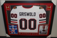 Chevy Chase Signed Griswold Blackhawks 35x43 Custom Framed Jersey (PSA COA) at PristineAuction.com