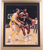 Jerry West & Oscar Robertson Signed 20x24 Custom Framed Photo Display (PSA COA) at PristineAuction.com