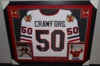 Corey Crawford Signed Blackhawks 35x43 Custom Framed Jersey (JSA COA) at PristineAuction.com