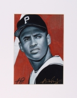 Roberto Clemente Limited Edition 8x10 Custom Matted Lithograph Signed by Original Artist Anthony Douglas (PA LOA) at PristineAuction.com