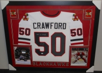 Corey Crawford Signed Blackhawks 35x43 Custom Framed Jersey (JSA) at PristineAuction.com