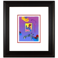 "Peter Max ""Heart"" Signed Custom Framed 8.5"" x 11"" Original Acrylic Mixed Media Painting 1/1 (Framed to 22.5"" x 25"") at PristineAuction.com"