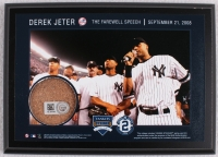 Derek Jeter Moments: 'The Farewell Speech' 5X7 Photo Plaque with Game-Used Yankee Stadium Dirt (Steiner COA & MLB Hologram) at PristineAuction.com