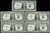 Lot of (5) 1957 U.S. $1 One Dollar Silver Certificate Notes at PristineAuction.com