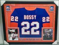 Mike Bossy Signed Islanders 35x43 Custom Framed Jersey (JSA COA) at PristineAuction.com