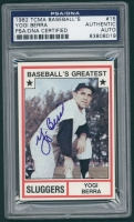 Yogi Berra Signed 1982 TCMA Greatest Sluggers #15 (PSA Encapsulated) at PristineAuction.com