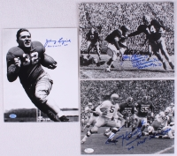Lot of (3) Football Signed 8x10 Photos with Johnny Lujack, Johnny Lattner, & Terry Hanratty With (6) Inscriptions (SOP & JSA COA) at PristineAuction.com