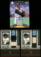 Lot of (3) Roberto Clemente Game-Used Relic Insert Baseball Cards With 2007 Sweet Spot Classic Classic Memorabilia Patch #CL & (2) 2005 Donruss Greats Hall of Fame Souvenirs Material Combo #26 at PristineAuction.com