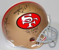 """Dwight Clark & Joe Montana Signed 49ers Full-Size Authentic Pro-Line Helmet Inscribed """"The Catch"""" & """"1-10-82"""" with Hand-Drawn Play (Steiner COA) at PristineAuction.com"""