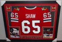 Andrew Shaw Signed Blackhawks 35x43 Custom Framed Jersey (PSA COA) at PristineAuction.com