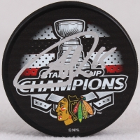 Andrew Shaw Signed Blackhawks 2015 Stanley Cup Logo Hockey Puck (Schwartz COA) at PristineAuction.com