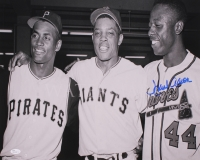 Hank Aaron Signed Braves 16x20 Photo with Willie Mays & Roberto Clemente (JSA COA) at PristineAuction.com