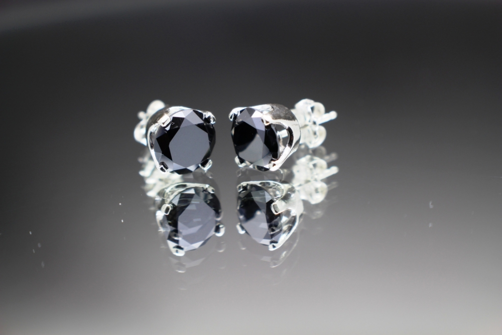 2 66 Total Carat Genuine Natural Black Diamond Stud & Sterling Silver Ear