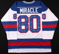 """1980 Team USA Hockey """"Miracle on Ice"""" Jersey Signed by (19) with Mike Eruzione, Jim Craig, Ken Morrow, Jack O'Callahan, Rob McClanahan, Dave Silk, Buzz Schneider, Mark Wells, Neal Broten, Phil Verchota (Schwartz COA) at PristineAuction.com"""